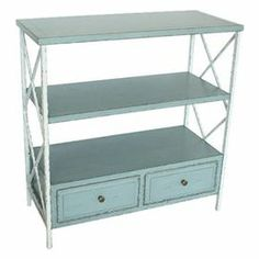 "Wood console table with latticed sides and 2 display shelves.     Product: Console table    Construction Material: Pine wood    Color: White and pale blue   Features:  Transitional design     Two bottom drawers    Two display shelves   Dimensions: 34.8"" H x 33.9"" W x 15.2"" D"