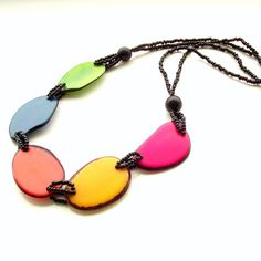 Tagua nut necklace bright carnival mixed color by jinjajewellery, £15.00