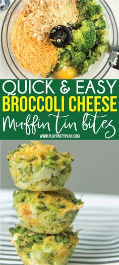 The Best Broccoli Cheese Bites Recipe - Play Party Plan These broccoli cheese bites make the perfect side for dinner or a great healthy comfort food option! Or better yet - serve them as an appetizer at a brunch or baby shower! Broccoli Cheddar Bites, Broccoli And Cheese Recipe, Broccoli Cheese Casserole, Quick And Easy Appetizers, Yummy Appetizers, Appetizer Recipes, Vegetable Recipes, Vegetarian Recipes, Healthy Recipes