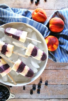 Deliciously refreshing blueberry peach popsicles featuring mascarpone, for an extra creamy special treat!