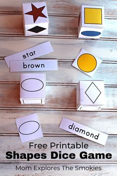 This printable dice game for kids teaches shapes, colors, and sight words! The learning activity is perfect for preschool or kindergarten! Kindergarten Games, Preschool Games, Fun Learning, Learning Activities, Articulation Activities, Therapy Activities, Alphabet Sounds, Letter Sounds, Printable Shapes