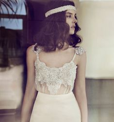 Zahavit Tshuba Wedding Gowns - love this beaded top