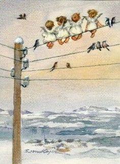 Vintage (Brownie) Christmas Angels Card by Erica von Kager Christmas Angels, Christmas Art, Vintage Pictures, Vintage Images, I Believe In Angels, Angels Among Us, Angel Pictures, Angels In Heaven, Guardian Angels