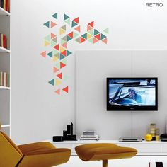 fascinating wall stickers decor: Entrancing Decoration Interior Bright Living Room Design Ideas With Colorful Geometric Triangles Vinyl Wall Sticker Set And White Wall Featuring Flat Deco Stickers, Diy Wall Stickers, Wall Stickers Triangles, Contemporary Wall Stickers, Geometric Wall, Geometric Patterns, Triangle Wall, Wall Patterns, Home Interior