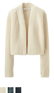 SPRING-SUMMER 2016 UNIQLO AND LEMAIRE offers the ideal wardrobe that consists of flexible and versatile pieces you can wear every day. Knitwear Fashion, Knit Fashion, Knit Jacket, Knit Cardigan, Sweater Coats, Uniqlo, How To Purl Knit, Knitting Designs, Lana