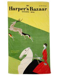 Vintage 1929 Harper's Bazaar Beach Towel - Sidesaddle Stag Hunt