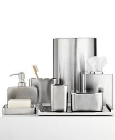 Macys | Hotel Collection Hotel Modern Brushed Stainless Steel Tissue Holder