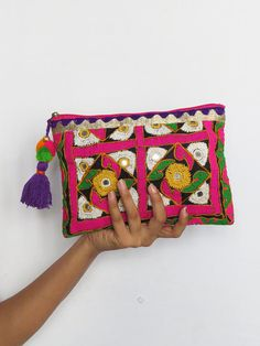 Colourful HIPPIE POUCH BAG/ tribal banjara Style Embroidered Vintage bag/ clutch bag/ Boho, kutchi, Ethnic India on Etsy, US$35.00