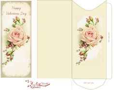 Free-printable Pink Rose Valentine Card and envelope