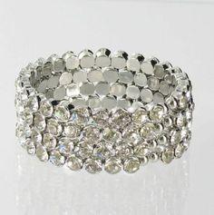 Helen's Heart Style JB-0004 Silver Base Clear Crystal Stone Bracelet