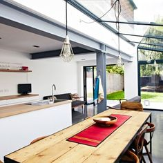 Grey steel beams - Explore our kitchen design ideas, including these uniformly long lines Glass Extension, Side Extension, Extension Designs, Extension Ideas, Kitchen Diner Extension, Kitchen Extension London Terrace, Estilo Interior, Side Return, Steel Beams