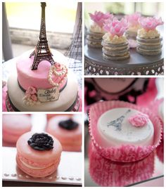 Pink Paris themed baby shower with So Many Really Cute Ideas via Kara's Party Ideas! full of decorating ideas, cakes, favors, games, and more!