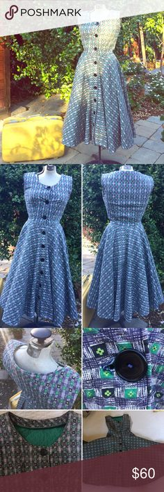 """•VTG• Handmade 50's Style Dress This Handmade dress is a one of a kind find!! It's vintage I'm sure, but the exact timeframe it was made I'm unsure. The dress is done in the """"Style"""" of the 1950's. Full skirt (shown with crinoline not included). Black and green mod pattern. Very mid century in look! This dress is done in a quilted fabric so it's got weight to it. Sleeveless but Pair a black cardigan and little black flats and you're golden! Bust 16"""", Waist 13"""" Length 45"""". Hand-washed and hung…"""