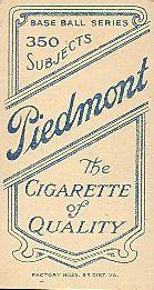 1909-11 The American Tobacco Company T206 White Border #391 Jimmy Phelan Back
