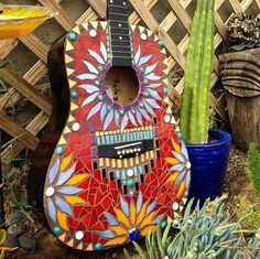 Hand Glassed Mosaic Guitar by MosaicGlassGems on Etsy