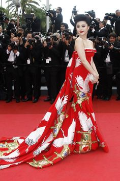 Chris Bu Kewen: The Chinese actresss exaggerated scarlet Chinoiserie dress was a moment of opulent drama on the red carpet - Cannes 2011