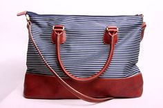 SAILOR  Large Bag in Striped Blue and Leather by marchandcraft, $64.00