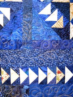 Dizzy Geese, close up of quilting by Holly Casey