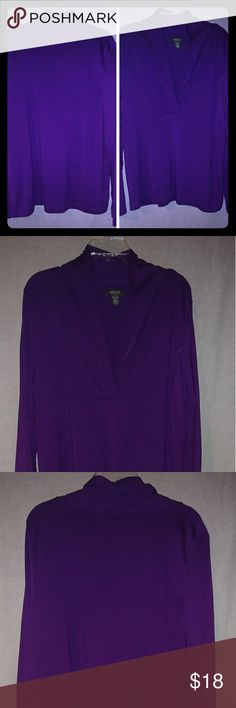 Pullover top Shawl collar, slight cross v neck.  Long sleeves Pretty plum/ purple color perfect for fall and layering.  63% polyester/33% rayon/4% spandex.  Machine washable. Kenneth Cole Reaction Tops Tees - Long Sleeve