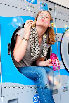 How delightful. My dad owned laundromats, and at the fair this year, he insisted on buying me a bubble gun. --Young at Heart Senior Girl Photography, Photography Ideas, Young At Heart, Senior Girls, Fashion Photo, Roller Blading, Photo Shoot, Polka Dots, Poses