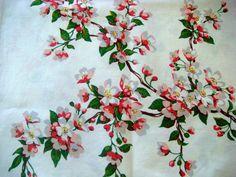 Vintage Wilendur Apple Blossoms Tablecloth Fabric
