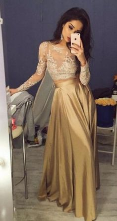 2016 long sleeves gold prom dress evening dress party dress