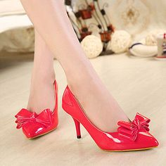 2015 Spring Womens Bowknot Pointed Toe High Heel Pump Party Bridal Shoes US4.5-8