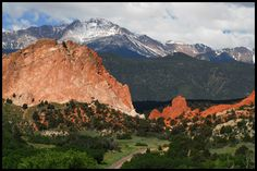Colorado Springs, CO <3 showing Garden of the Gods, Pikes Peak in the background