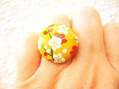 Plum Blossom Ring Japanese Yuzen Chiyogami by SouZouCreations, $12.50 #etsy #jewelry #jewellery #shopping #etsy #handmade #food #gift #present #accessory #accessories #harajuku #tokyo #fashion