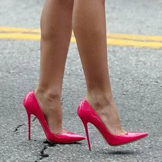Audrina Patridge's pink pumps (Jimmy Choo) neon pink.well these are just amaze Pink High Heels, Platform High Heels, Black High Heels, High Heels Stilettos, High Heel Boots, Shoe Boots, Pink Pumps, Pink Shoes, Shoes Sandals