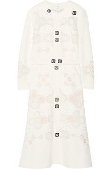 Peter Pilotto Counter crocheted lace-paneled embellished cady dress | NET-A-PORTER