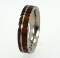 Wooden Engagement Ring, Thin Ironwood Band, Ring Armor Included