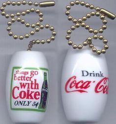 Charming Set of 2 Coca Cola Ceiling Light / Fan Pulls