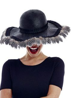 673041ff4f53c Black Hat Trimmed With Guinea Fowl Feather. Hat For The Races