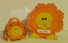 Stampin' Up! products to create Punch Art. A lion card and a lion Curvy Keepsake Box Die. Debbie Henderson, Debbie's Designs.