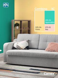 Logra el balance perfecto de color en tu proyecto seleccionando 3 tonos distintos, 60% color predominante, 30% color intermedio y 10% color de acento. Con #Combina3C® podrás embellecer tu hogar, utilizando los colores perfectos y que se adaptan a tu estilo de vida. #Combina colores y transforma tu espacio. Wall Painting Decor, Wall Paint Colors, Paint Colors For Home, Room Paint, House Painting, House Colors, Interior Color Schemes, Room Color Schemes, Wall Paint Colour Combination