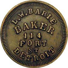 1863 Detroit Michigan Civil War Token L. Detroit Vs Everybody, Tiffany, Detroit History, Favorite Subject, Detroit Michigan, Motown, Best Cities, Great Lakes, Antique Glass
