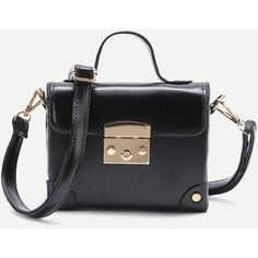 Black Studded Flap PU Shoulder Bag ($24) ❤ liked on Polyvore featuring bags, handbags, shoulder bags, polyurethane handbags, shoulder bag purse, flap shoulder bag, shoulder hand bags and flap handbags