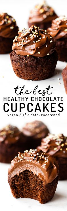 The BEST Healthy Chocolate Cupcakes  INGREDIENTS  1 cup Medjool dates (about 12)  1 cup water  1/3 cup cacao powder (or cocoa powder)  1 tbsp baking powder  1 tsp vanilla extract  Pinch of salt  1 cup oat flour  1/4 cup non-dairy milk  CHOCOLATE FUDGE FROSTING  1 cup Medjool dates (about 12)  1/2-2/3 cup non-dairy milk  1/2 cup nut or seed butter (almond used)  1/4 cup cacao powder (or cocoa powder)  Pinch of salt  Optional: sprinkles for topping