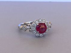 Round Cut Ruby Stone Ring Halo Vintage Sterling Silver Man Made Ruby Solitaire Wedding Promise Engagement Ring July Birthstone by SimplySilvery on Etsy