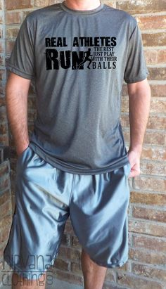 Real Athletes Run.  The rest just play with their balls. Funny Mens Marathon running shirt motivation saying