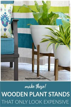 How to make these West Elm inspired plant stands that only LOOK expensive!  #knockoff # #diydecor #plantstand #midcentury #woodworkingprojects #diy #diyproject #plants #westelm #patio #outdoor #outdoorliving #outdoorfurniture #homedecor #homemade #decoratingideas   via @heytherehome