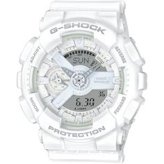 G-Shock S Series Stainless Steel and Resin Strap Watch ($130) ❤ liked on Polyvore featuring jewelry, watches, white, g shock wrist watch, stainless steel jewellery, white watches, white jewelry and white wrist watch