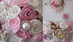 Pink Gold Ivory Lace fabric flower wedding bouquet by allforloveLOVE