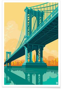 Manhattan Bridge New York City als Premium Poster von Remko Heemskerk | JUNIQE