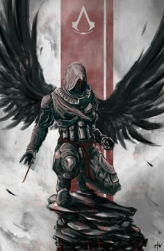 so many levels of AWESOME Assassins Creed. dark achangel Ezio Auditore da Firenze fan art. I seriously can't get over how epic this is