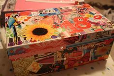 magazine collage shoe box. let them decorate it anyway they want, and then they have something to store their treasures in!