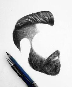 Realistic Hair Drawing, Realistic Pencil Drawings, Body Drawing, Cool Art Drawings, Pencil Art Drawings, Art Sketches, Beard Art, Cute Disney Drawings, Hair Sketch