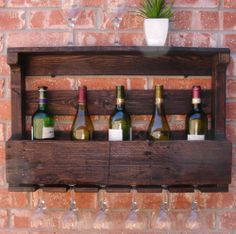 Rustic Wine Rack with 6 Glass Holder and Shelf - Handmade from Reclaimed Wood