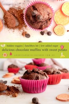 These Chocolate Muffins with Sweet Potato are a delicious addition to school lunchboxes. Low in added sugar and with the extra goodness of sweet potato these are a nut free muffin that are totally kid approved. Boiling Sweet Potatoes, Roasted Sweet Potatoes, Decadent Chocolate, Delicious Chocolate, Baking With Toddlers, Kids Baking, Double Chocolate Chip Muffins, Sugar Free Baking, Sweet Potato Brownies